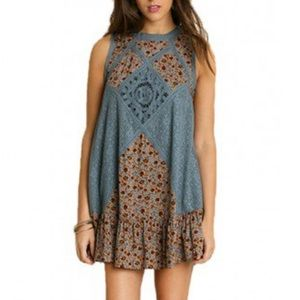 Umgee Boho Patchwork Crochet Mini Dress/Tunic